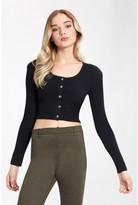 Select Fashion Fashion Womens Black Crop Button Cardigan - size 10