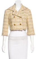 Lela Rose Cropped Tweed Blazer