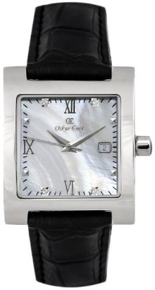 Oskar Emil St Petersburg Ladies Watch with Black Leather Strap with Genuine Diamonds.