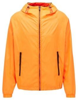 HUGO BOSS Hooded Windbreaker Jacket With Logo Badge - Orange