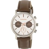 Kahuna Women's Quartz Watch with White Dial Chronograph Display and Grey PU Strap KLS-0318L
