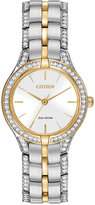 Citizen Women's Eco-Drive Crystal Accent Two-Tone Stainless Steel Bracelet Watch 28mm FE2064-52A