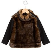 Junior Gaultier Girls' Faux Fur Long Sleeve Top