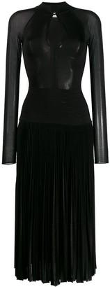 Victoria Beckham Long Sleeve Pleated Midi Dress