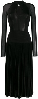 Victoria Beckham long sleeve pleated midi dress