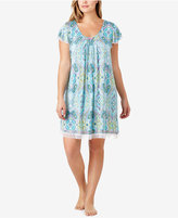 Ellen Tracy Plus Size Mesh-Trimmed Printed Nightgown