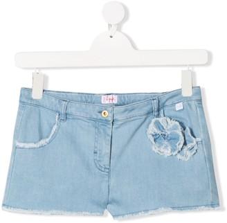 Il Gufo Rosette-Embellished Denim Shorts