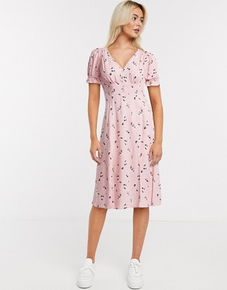 Miss Selfridge stamp print midi dress in light pink