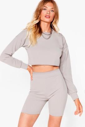 Nasty Gal Womens Sweat It Right Sweatshirt and Biker Short Set - Grey