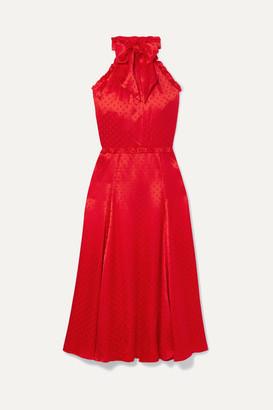 ALEXACHUNG Polka-dot Silk-blend Jacquard Dress - Red