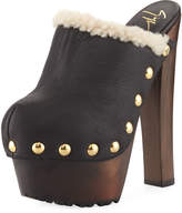 Leather Studded Platform Mule