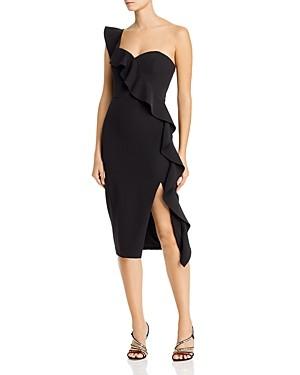 Aidan Mattox One-Shoulder Crepe Dress