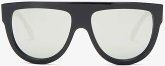 Celine Mirrored Flat-top Acetate Sunglasses - Black