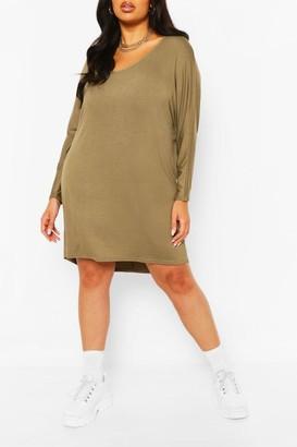boohoo Plus Long Sleeve Basic T-Shirt Dress