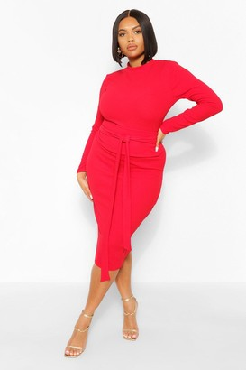 boohoo Plus High Neck Crepe Belted Midi Dress