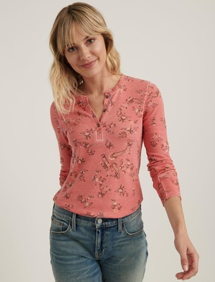 Lucky Brand Printed Burnout Henley Tee