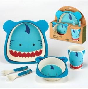 Certified International Shark Eco Friendly Bamboo Fiber 5-Pc. Kids Dinnerware Set