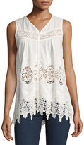philosophy Sleeveless Lace-Inset Button-Front Tank, White