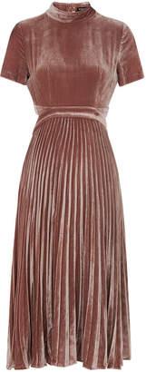Whistles Alexandra Pleat Velvet Dress