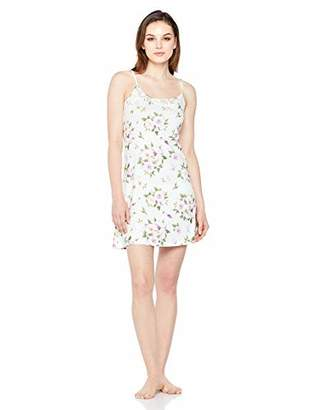 Selene Women's Soft Lace Contrast Slip Dress Comfy Lounge Nightgown Floral Printed XXL