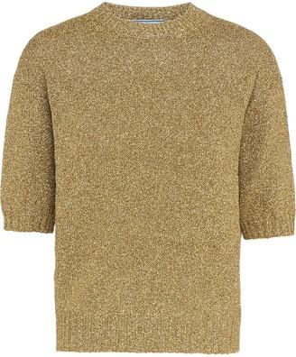 Prada Metallic Weave Knitted Top