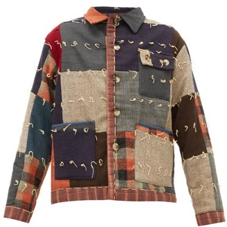 Bode Patchwork Single-breasted Wool Jacket - Black