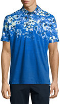 Robert Graham Compania Floral-Printed Short-Sleeve Polo Shirt, Blue/White