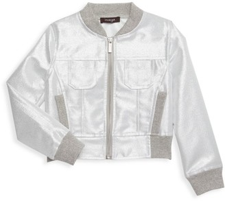 Imoga Little Girl's & Girl's Metallic Shimmer Bomber Jacket