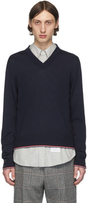 Thom Browne Navy Cashmere Classic V-Neck Pullover