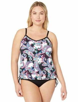 24th & Ocean Women's Plus Size V-Neck Adjustable Bottom Tankini Swimsuit Top