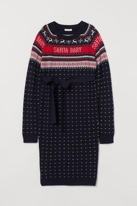 H&M MAMA Jacquard-knit Dress - Blue