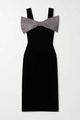 Christopher Kane Crystal-embellished Stretch-velvet Midi Dress - Black