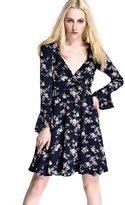 Womdee Women Summer Sexy Deep V-neck Long Sleeve Floral Print Casual Mini Dress
