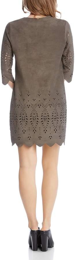 Karen Kane Laser-Cut Faux-Suede Dress