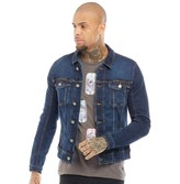 Blend Mens Denim Jacket Denim Dark Blue