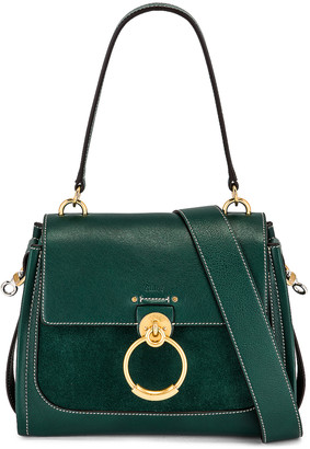 Chloé Small Tess Suede Day Bag in Rain Forest | FWRD