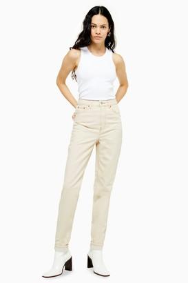 Topshop Womens Tall Ecru Mom Jeans - Ecru