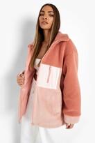 Thumbnail for your product : boohoo Borg Colourblock Zip Jacket