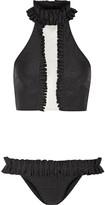 Adriana Degreas - Ruffle-trimmed Mesh-paneled Bikini - Black