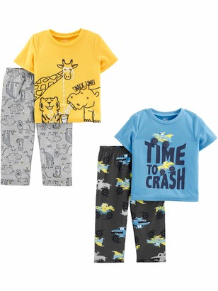 Simple Joys by Carter's 4-piece Loose Fit Flame Resistant Polyester Pajama Set Animals Green/Trucks 5T