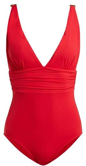 Panarea Ruched Swimsuit - Womens - Red