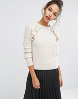 Paul Smith PS PS By Ecru Frill Detail Crew Neck