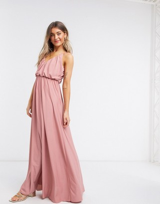 ASOS DESIGN cami plunge maxi dress with blouson top in soft pink