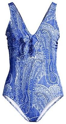 Shoshanna Paisley Lace-Up One-Piece Swimsuit