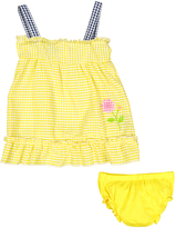 Sweet & Soft Yellow Flower Seersucker A-Line Dress & Diaper Cover - Infant