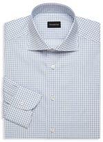 Ermenegildo Zegna Mini Windowpane Cotton Dress Shirt