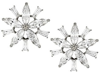 Adriana Orsini Rhodium-Plated & Cubic Zirconia Flower Clip-On Earrings