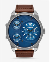 Express brown leather strap oversized multi-function watch