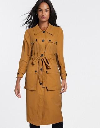 ASOS DESIGN four pocket trench coat in ochre