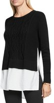 Petite Women's Two By Vince Camuto Layer Look Cable Knit Sweater